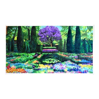 """Garden With Jacaranda"" Large Geoff Greene Painting For Sale"