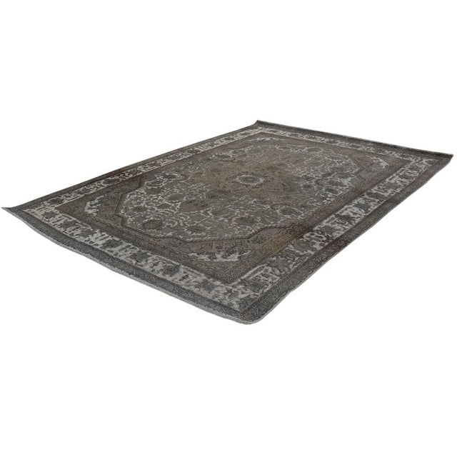 """Textile Vintage Distressed Color Reform Silas Gray/Gray Wool Rug - 7'8"""" X 11'0"""" For Sale - Image 7 of 7"""