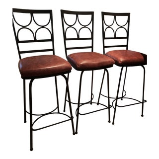 Wrought Iron Contemporary Swivel Counter Stools - Set of 3