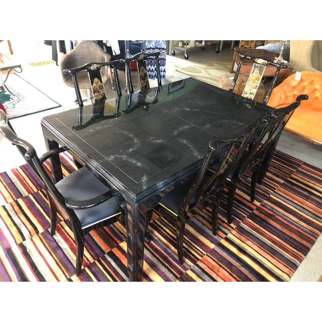 Century Furniture Black Lacquer Asian Dining Set For Sale - Image 13 of 13