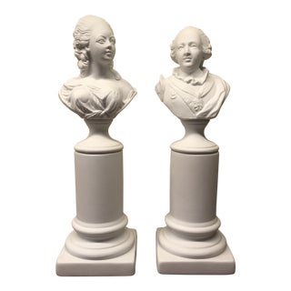Marie Antoinette and Louis XVI Porcelain Busts - Set of 2 For Sale