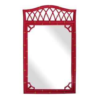 Vintage Red Lacquered Bamboo Style Mirror For Sale