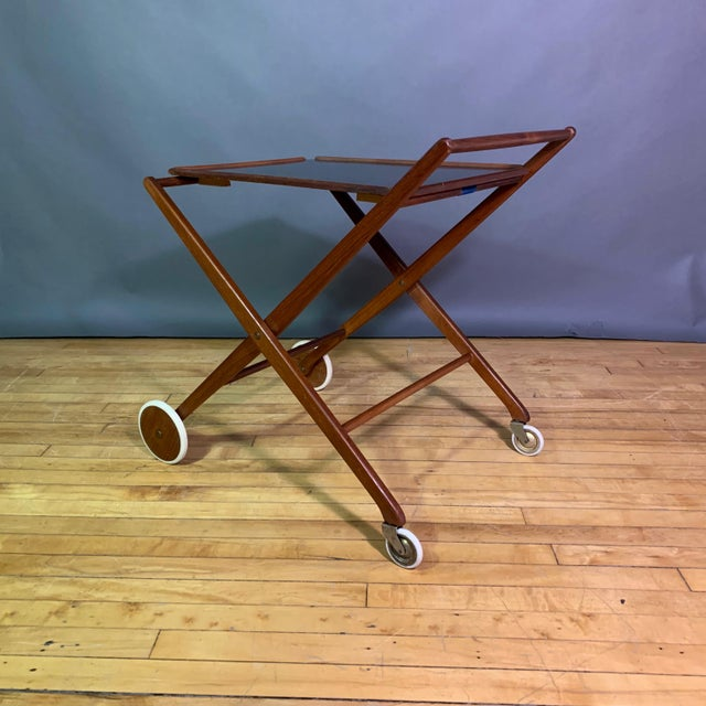 1970s Teak and Black Laminate Serving Trolley For Sale - Image 9 of 12