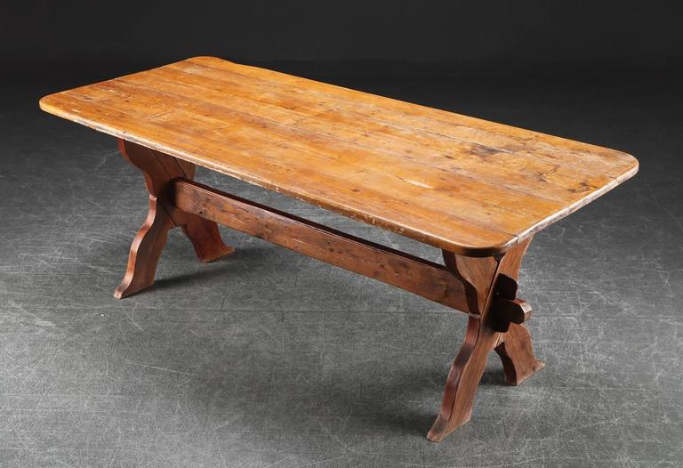 Danish Rectangular Country Pine Trestle Table With Cross Bar Legs. (bolted  For Stability)