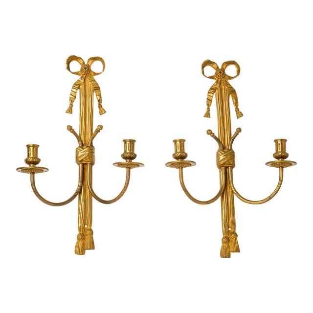 Pair of Gilt Bronze Rope Sconces For Sale
