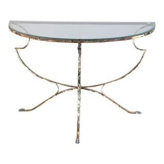 Italian Swan Design Demilune Glass Table With Wrought Iron Base For Sale