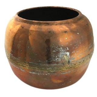 Antique Copper Cauldron | Rounded Hammered Copper Cauldron For Sale