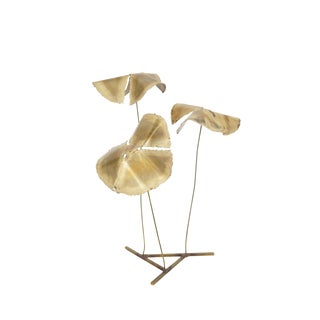 Vintage Mid-Century Brass Flower Sculpture For Sale