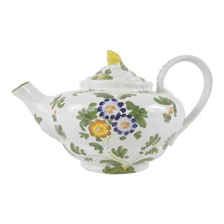 1960s Italian Hand Painted Ceramic Teapot For Sale