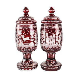 C 1920 Bohemian Art Glass Cranberry Over Clear Etched Lidded Urns - A Pair