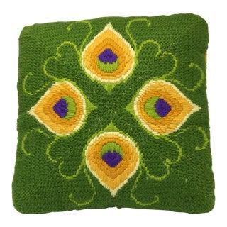 Mid-Century Modern Artful, Handmade Crewel Pillow For Sale