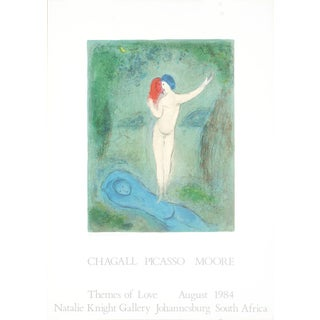 1984 Marc Chagall 'Chloe's Kiss' Modernism France Offset Lithograph For Sale