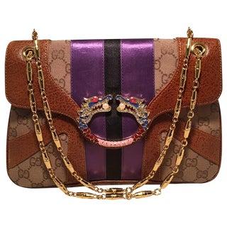 Gucci Tan Monogram Tom Ford Jeweled Dragon Shoulder Bag For Sale