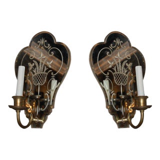 1920s Venetian Mirrored Backplate Sconces - a Pair For Sale