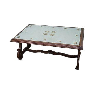 Quality Eglomise Mirrored Top Walnut Coffee Table For Sale
