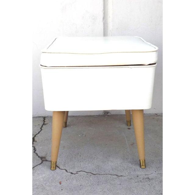 Mid-Century Modern Leatherette Storage Stool - Image 2 of 4