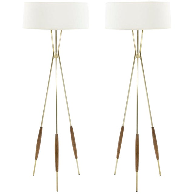 Brass and Walnut Tripod Floor Lamps by Gerald Thurston, 1960s - a Pair For Sale
