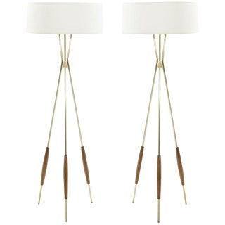 Pair of Brass and Walnut Tripod Floor Lamps by Gerald Thurston, 1960s For Sale