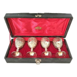 Early 20th Century Corbell & Co Silverplate Wine Cordial Goblets Grapes Cherubs 4 - Set of 4 For Sale