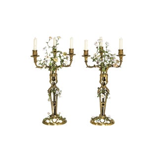 Late 19th Century Pair of French Belle Epoque Gilt Bronze Porcelain Candelabra For Sale