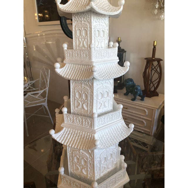 White Chinoiserie White Lacquered Pagoda Statue For Sale - Image 8 of 12