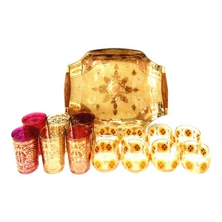 Mid-Century Venetian Style 22-Karat Gold Drinks Set By Georges Briard - Set of 15 For Sale