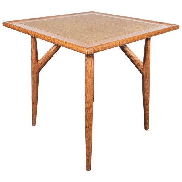 Mid-Century Modern Sculptural White Oak Table With Wrapped Linen Top For Sale - Image 10 of 10