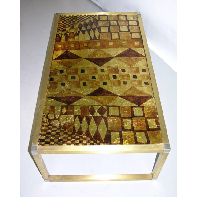 1970s Italian Art Deco Abstract Design Brass Coffee Table With Gold Leaf For Sale In New York - Image 6 of 8