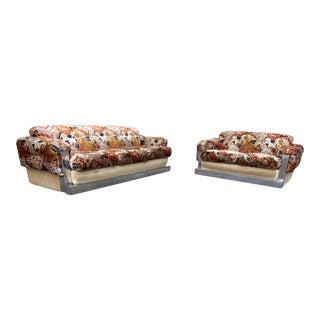Mid-Century Modern Chrome Fabric Jack Lenor Larsen Milo Baughman Sofa and Loveseat For Sale