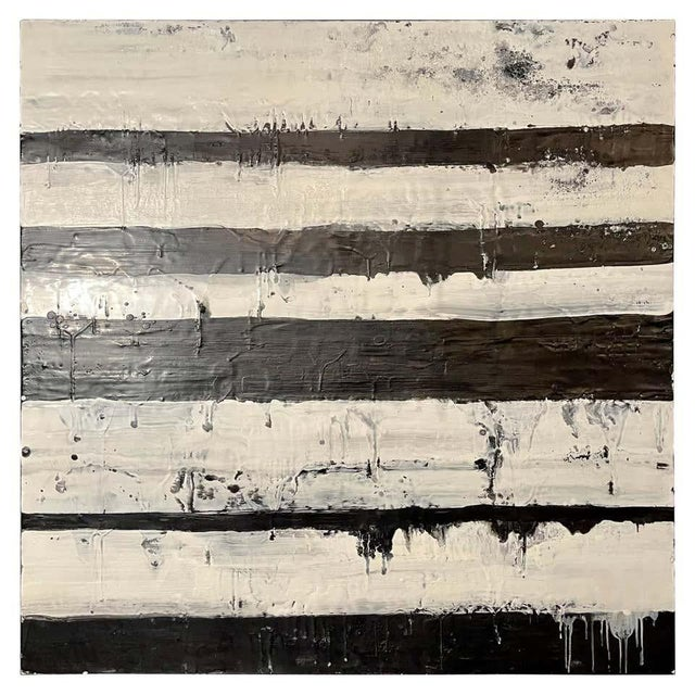 """Lynn Basa Encaustic Black and White Stripe Panel """"Mostly White"""" 2012 For Sale - Image 12 of 12"""