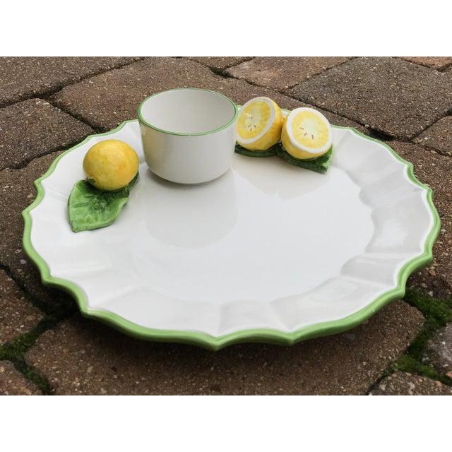 Green Italian Ceramic Majolica Trompe L'oeil Lemons Serving Platter With Bowl For Sale - Image 8 of 8