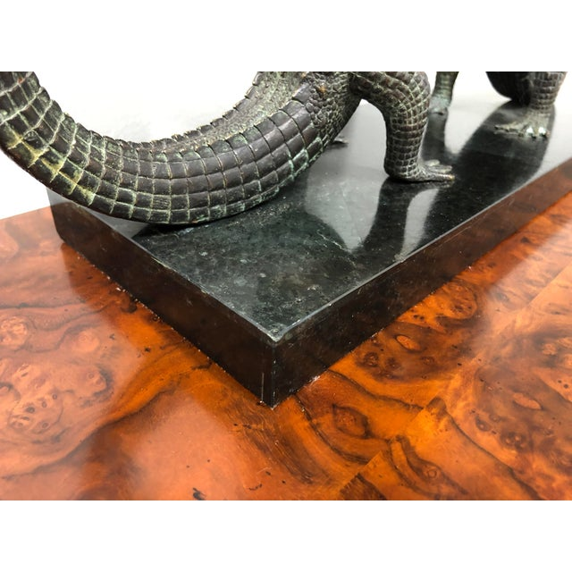 Maitland Smith Bronze and Marble Chiming Alligator Mantle Clock For Sale - Image 9 of 13