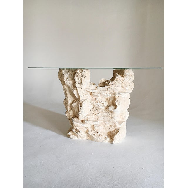 """Vintage plaster console table in style of Sirmos 'quarry"""" table. This console offers a more natural stone look, as it is..."""
