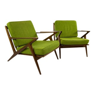 Kofod Larsen for Selig Z Green Club Chairs - Pair