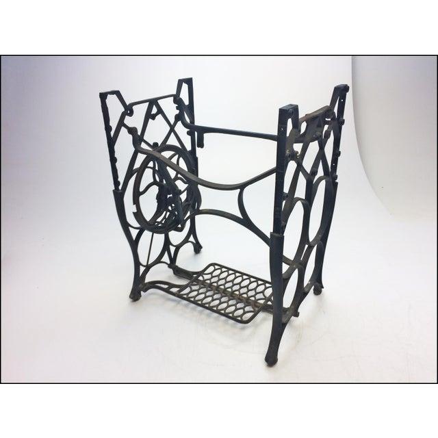 Vintage Industrial Black Iron Treadle Sewing Machine Base - Image 3 of 11