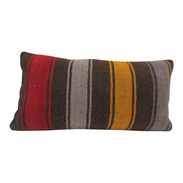 Vintage Striped Turkish Kilim Pillow Cover For Sale