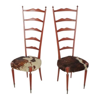 Meroni & Fossati Mid-Century Italian High Back Cowhide & Wood Chairs - a Pair For Sale