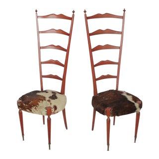 Meroni & Fossati Mid-Century Italian High Back Cowhide & Wood Chairs - A Pair