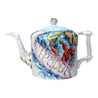 Rs Prussia Molded Graphic Blue Teapot
