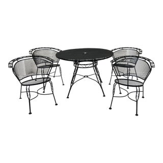 Mid-Century Modern Iron Salterini Patio Set - Set of 5 For Sale