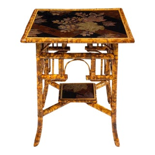 Late 19th Century Antique Victorian Bamboo and Lacquer Table For Sale