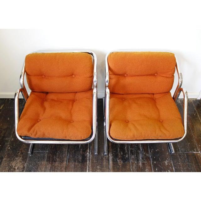 Mid-Century Modern Pair Mid Century Modern Jerry Johnson Arcadia Lounge Chairs Orange Chrome For Sale - Image 3 of 8