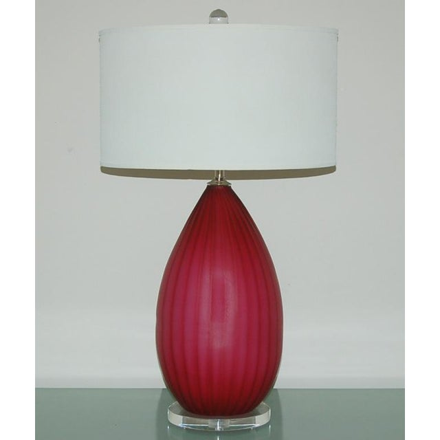 Italian Vintage Murano Glass Table Lamps Pink- A Pair For Sale - Image 3 of 10
