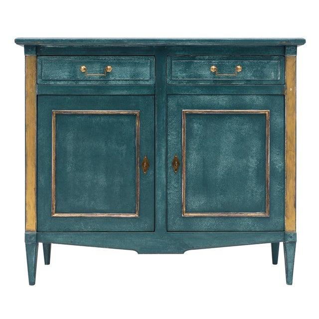 Antique Directoire Style Teal Buffet For Sale - Image 10 of 10