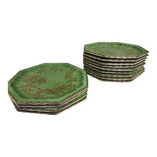 Asian Motif Octagonal Plates - Set of 12 For Sale