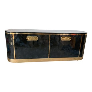 Mastercraft Malachite Lacquer and Brass Art Deco Sideboard Credenza For Sale
