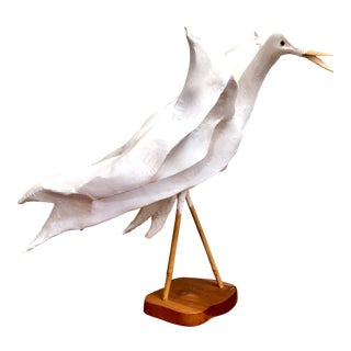 Vintage Handmade Paper Mache Crane Sculpture Mounted on Wood With Bamboo Legs & Beak For Sale
