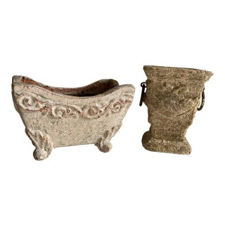 Rustic Aged Plant Vessels, Set of Two For Sale