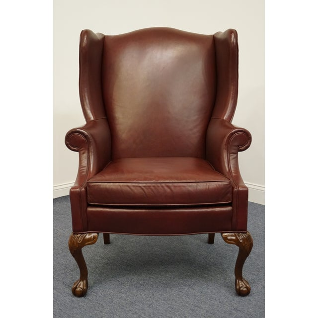 Whittemore-Sherrill Burgundy Leather Wingback Chair For Sale In Kansas City - Image 6 of 10