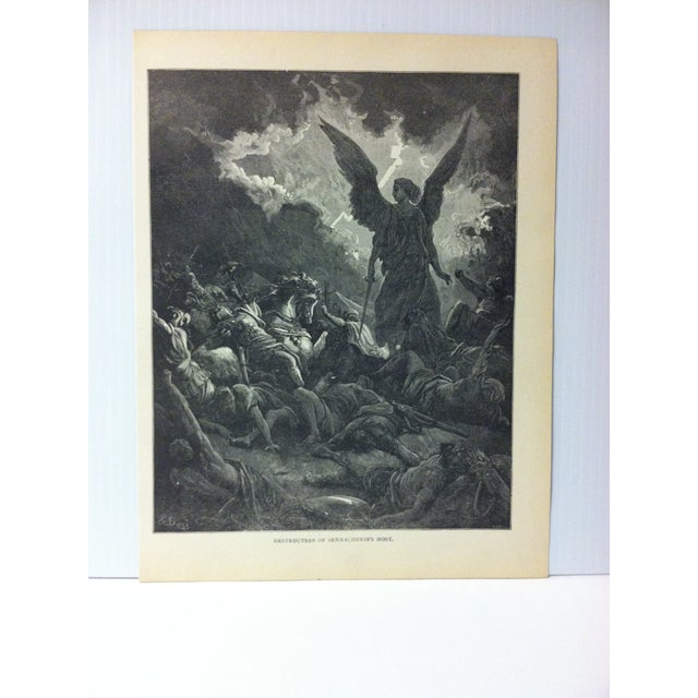 "This is Real Nice Antique Print on Paper Illustrated by Gustave Dore' that is titled ""Destruction of Sennacherib's Host""...."